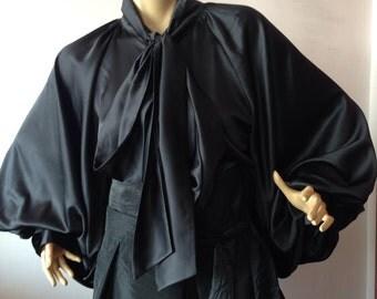 Womens formal blouse/ white satin blouse/ Black cocktail shirt/ Prom satin top