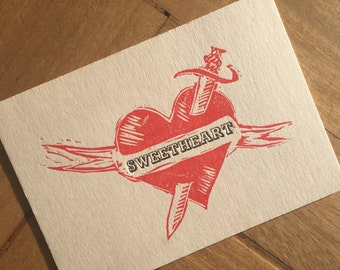Personalised Love-Heart Tattoo card