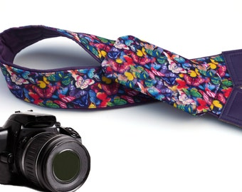 Purple Camera strap with lens pocket.  Colorful Butterflies camera strap.  DSLR / SLR Camera accessories. Strap for Nikon, Canon, Sony.