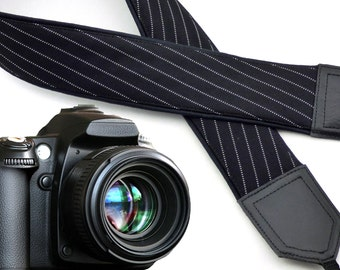 Black camera strap with white stripes. Gentlemen's camera strap. DSLR & SLR  camera strap. Men's gifts by InTePro