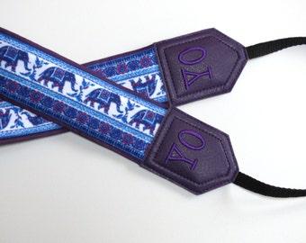 Custom camera strap. Personalized Camera Strap .Purple Elephant camera strap. DSLR Camera Strap. For Fuji Nikon Canon Sony & other cameras