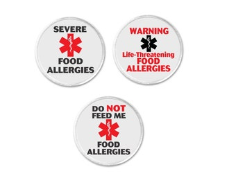 """Severe Food Allergies Warning Life Threatening Allergy Do Not Feed Me Medical Alert Symbol 3"""" Sew On Patch Emergency Health (800)"""