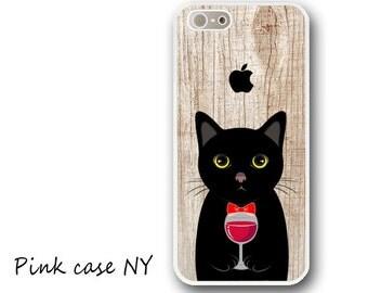 iPhone 6/ 6S/ 6plus/ 6S plus, iPhone 5/ 5S/ 5C, iPhone 4/ 4S, iPhone SE - I love Wine - Black Cat