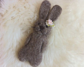 RTS Brown Felted Wool Bunny, Felt Rabbit Teddy - Newborn Photography Prop