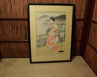Vintage Japanese Wood Block Print of Geisha Black Wood Framed