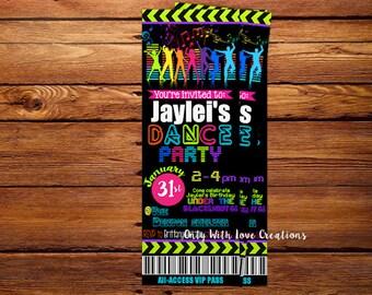 Neon Dance Party Ticket Invitation