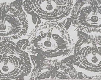 Alexander Henry Rocky Raccoon Gray Cotton KNIT Fabric, many size options available