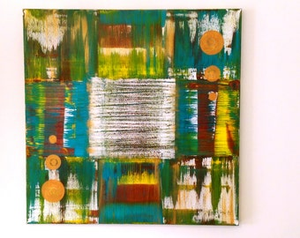 """ORIGINAL Abstract Contemporary Art on Stretched Canvas Painting  36 """" X 36 """" - Transition"""