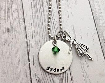 ballerina necklace, ballerina jewelry, name necklace, ballet dancer necklace, personalized necklace, dance necklace, dance recital gift,