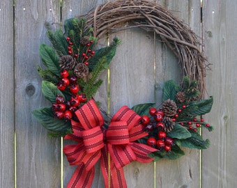 Grapevine Christmas Wreath with Red Bow