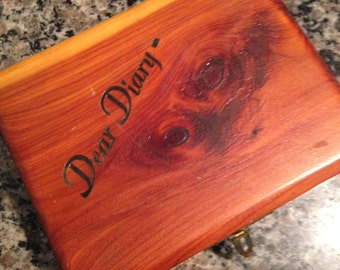 Wooden Diary Box with Heart Shaped Lock and Key
