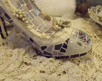 Lavender and violet mosaic stiletto shoe in vintage china and stained glass