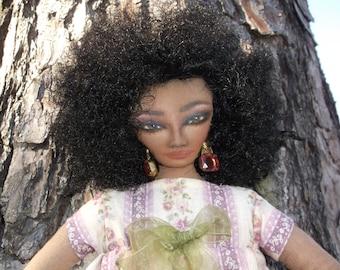 Handmade Doll, Cloth Doll, Black Cloth Doll with pink flower dress, Folk Art Doll