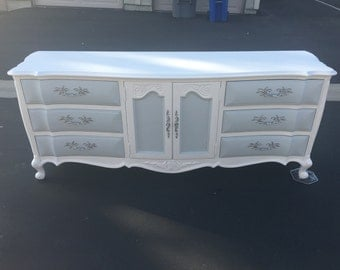SAMPLE: White And Grey French Provincial Dresser, Changing Table, Credenza,  Buffet