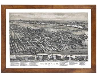 Hoboken, NJ 1881 Bird's Eye View; 24x36 Print from a Vintage Lithograph