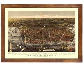 Brooklyn, NY 1879 Bird's Eye View; 24x36 Print from a Vintage Lithograph