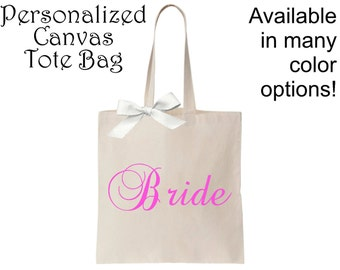 Personalized Canvas Tote Bag, Custom Tote Bag, Monogrammed Tote Bag, Personalized Gift, Bridesmaid Gifts, Monogrammed Gifts
