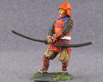 Japanese Hand Painted Toy Soldiers Samurai Historical 1/32 Scale  54mm Tin Metal Miniature Action Figurine Statuette