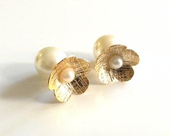 Double side earrings gold double pearl earrings pearl front back earrings double stud earrings ear jacket earring jacket gift for her