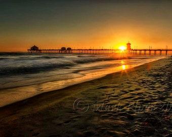 Huntington Beach Pier Sunset, Huntington Beach Pier, Beach, Scenic, Landscape, Color photography,  Fine Art, Wall Art,