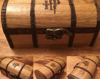 Harry Potter, Hogwarts trunk inspired wooden chest with drop latch.