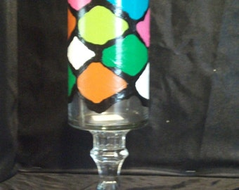 Handpainted Multicolor Candleholder