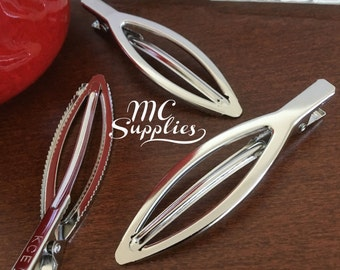 Blank oval snap clips,DIY snap clip,big snap clips,hair findings,hairwear,silvertone snap clips.