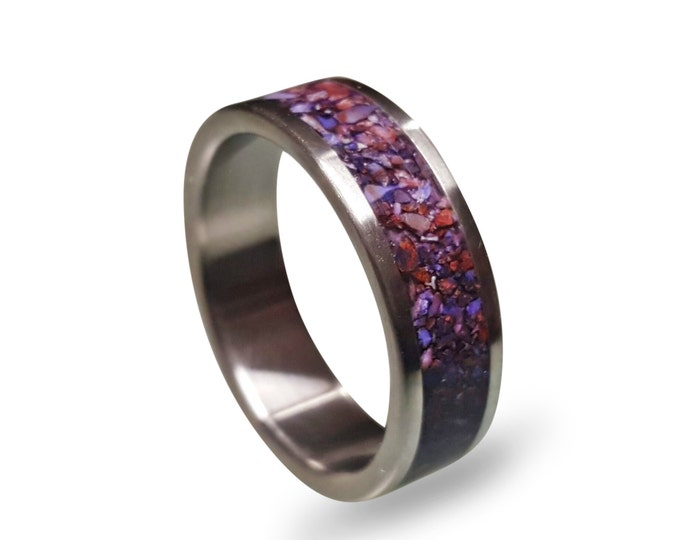 Men's titanium ring with crushed amethyst inlay, Titanium Wedding Band