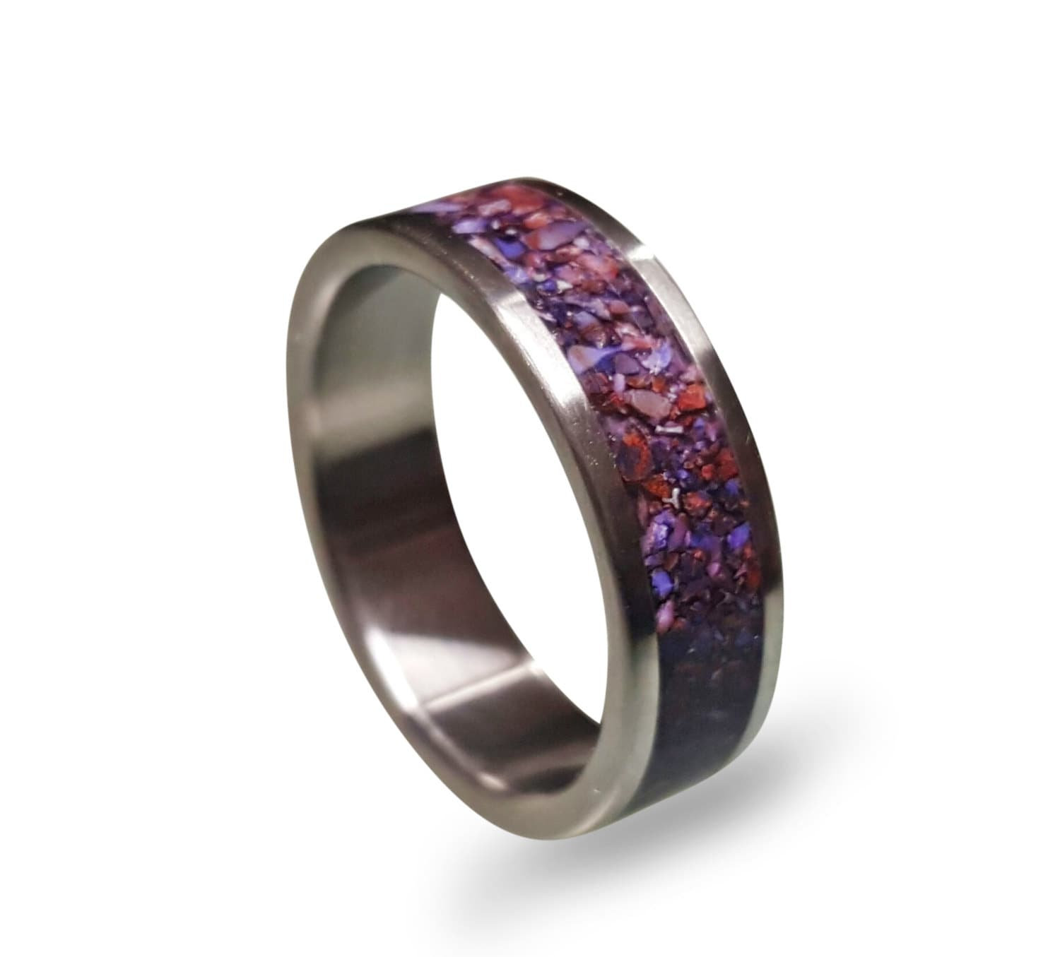 men's titanium ring with purple crushed amethyst inlay