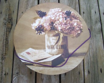 Large French Romantic Hat box, Hydrangeas, Berries, Bunches of Flowers
