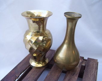 Vintage Brass Budvases Swirl and Simple