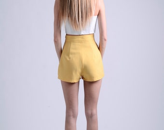 vintage 50s ochre shorts / more colors and sizes / retro shorts / 50s shorts / vintage shorts / pin up shorts / high waist shorts
