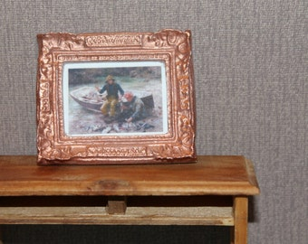 DOLLHOUSE MINIATURE Painting/ Picture # 39, Men With Fishing Boat, 1:12 Scale