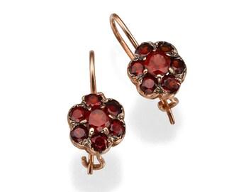 Rose Gold Earrings, Garnet Earrings, Rose Gold Garnet, Flower Earrings, 14k Rose Gold Earrings, Red Gemstone, Floral Design Earrings.