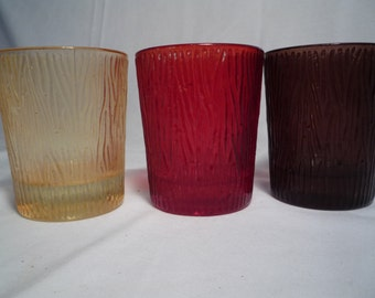 Vintage Set of 3 Faux Bois Wood Glasses Red Brown Gold Barware