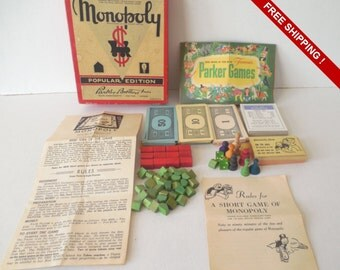 Vintage 1953 Monopoly Popular Edition Box of Game REPLACEMENT Pieces COMPLETE