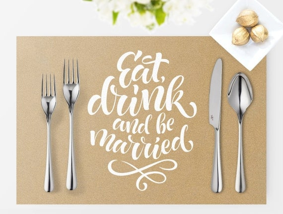 Placemat Printable Wedding sign | instant download digital file | DIY | Vintage Collection | Wedding Signage | White text with Kraft image