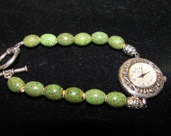 SALE***Handmade Beaded Jade Stone Watch Bracelet