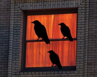 Halloween Decoration - Vinyl Art, Three Black Birds, Halloween Crow, Raven Wall Art, Creepy Halloween Decor,