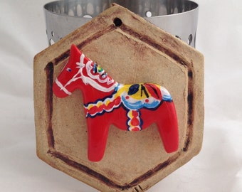 Scandinavian Dala Horse on Stoneware Tile