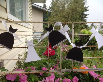 White Black Paper Dress Garland- Party Wedding Decor
