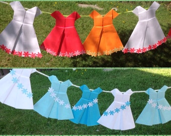 20 Origami Dress- Paper Dress Garland- Girl Party Decoration - Girl Birthday Party