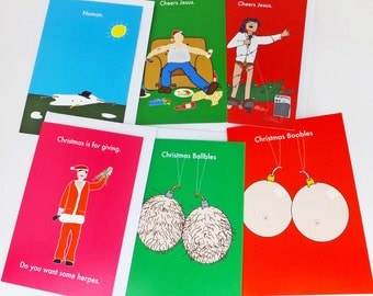 pack of 3 rude xmas cards of your choice, funny christmas card pack,rude christmas cards