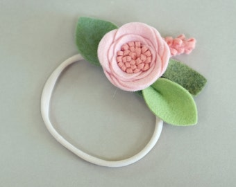 BLUSH // single flower headband or alligator clip // felt flower accessories for a whimsical childhood