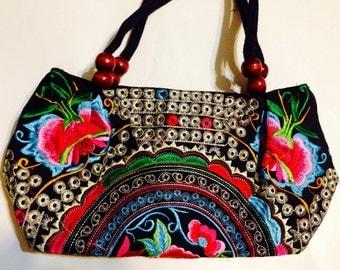 Women handmade handcrafted embroidered handbag shoulder bag purse floral black