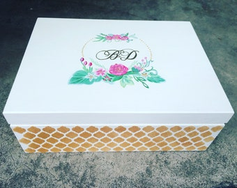 Wooden hand painted personalized keepsake, wedding car box with initials and quote, metallic gold, floral frame, Moroccan pattern