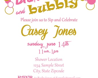 Brunch and Bubbly Bridal Shower Invitations (Customized Electronic or printable)