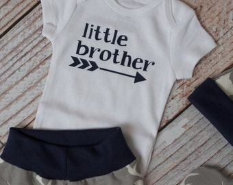 Newborn Little Brother Long Sleeve or Short Sleeve Bodysuit Baby Shower Gift