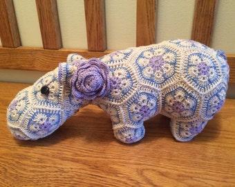 African Flower Crochet Hippopotomus-small