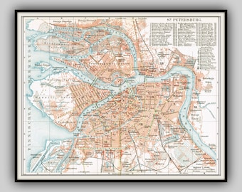 "1900 SAINT PETERSBURG  Original atlas map detailed city plan of Capital of Imperial Russia          ""city of 4 revolutions?"""